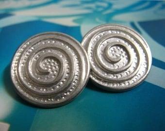 Metal Buttons - Spiral Metal Buttons , Matte Silver Color , Shank , 0.91 inch , 10 pcs