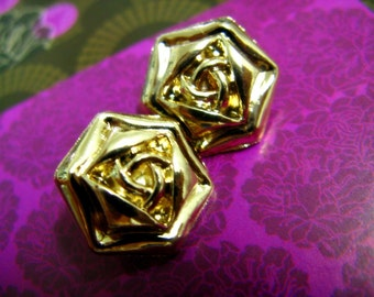 Metal Buttons - Rose Metal Buttons , Gold Color , Shank , 0.51 inch , 10 pcs