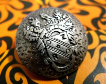 Metal Buttons - Shield Emblem Metal Buttons , Gunmetal Color , Domed , Shank , 0.90 inch , 10 pcs