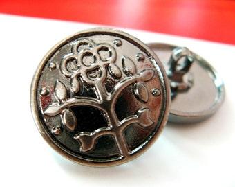 Metal Buttons - Flower Metal Buttons , Gunmetal Color , Shank , 0.83 inch , 10 pcs