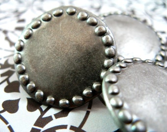 Metal Buttons - Stone Circle Metal Buttons , Nickel Silver Color , Shank , 0.79 inch , 10 pcs