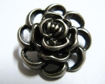 Metal Buttons - Flower Outline Metal Buttons , Nickel Silver Color , Shank , 0.71 inch , 10 pcs