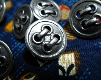 Metal Buttons - Imitate 4 Holes Metal Buttons , Nickel Silver Color , Shank , 0.59 inch , 10 pcs