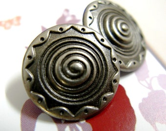 Metal Buttons - Spiral Metal Buttons , Nickel Silver Color , Shank , 0.91 inch , 10 pcs