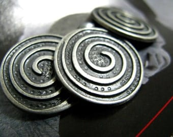 Metal Buttons - Spiral Metal Buttons , Gunmetal Color , Shank , 0.79 inch , 10 pcs
