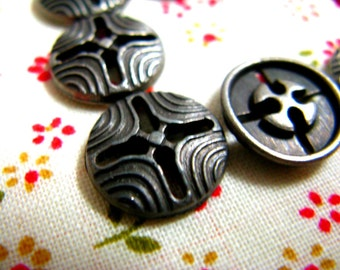 Metal Buttons - Cross Hole Gunmetal Buttons.With Bump Stripes Pattern. 0.35 inch. 10 pcs