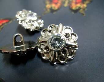 Metal Buttons - Crystal Decoration Silver Flower Shank Metal Buttons, 0.71 inch , 10 pcs