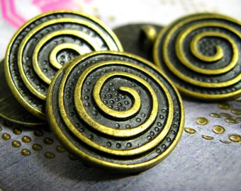 Metal Buttons - Spiral Metal Buttons , Antique Brass Color , Shank , 0.91 inch , 10 pcs