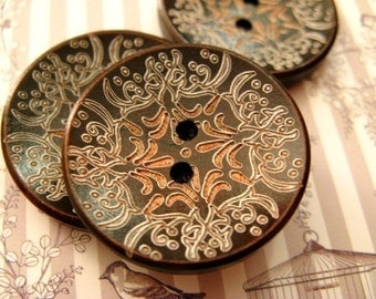 Brown Wood Buttons - 8 pieces of Japanese Style Brown Concave Wooden buttons with Khaki Floral pattern. 1.10 inch