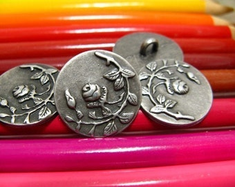 Metal Buttons - Rose Vine Metal Buttons , Gunmetal Color , Shank , 0.71 inch , 10 pcs