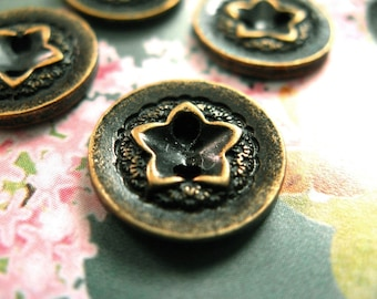 Metal Buttons - Star Caved Metal Buttons , Antique Brass Color , 2 Holes , 0.51 inch , 10 pcs