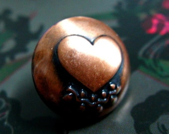 Metal Buttons - Heart Metal Buttons , Copper Color , Domed , Shank , .0.59 inch , 10 pcs