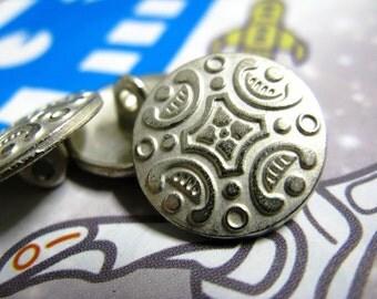 Metal Buttons - Carpet Pattern Metal Buttons , Silver Color , Shank , 0.63 inch , 10 pcs