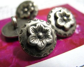 Metal Buttons - Lily Flower Metal Buttons , Nickel Silver Color , Shank , 0.55 inch , 10 pcs