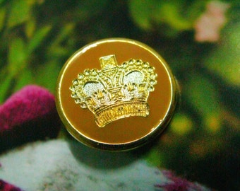 Metal Buttons - Gold Crown Metal Buttons , Cheese Yellow Enamelled , Shank , 0.90 inch , 10 pcs