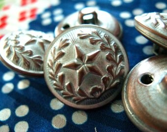 Metal Buttons - Leaf Crest Star Metal Buttons , Silver White Patina Color , Domed , Shank , 0.79 inch , 10 pcs