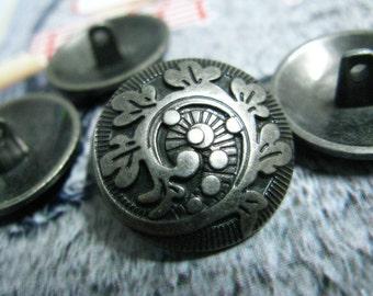 Metal Buttons - Fern Crozier Metal Buttons , Gunmetal Color , Shank , 0.83 inch , 10 pcs