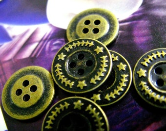 Metal Buttons - Star Wreath Metal Buttons , Antique Brass Color , 4 Holes , 0.51 inch , 10 pcs