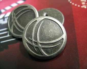 Metal Buttons - Abstract Wings Metal Buttons , Gunmetal Color , Shank , 0.79 inch , 10 pcs