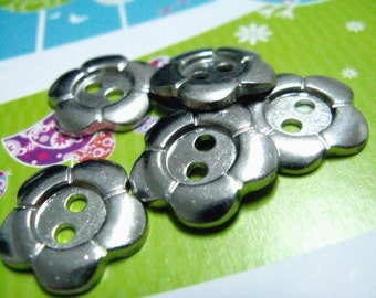 Metal Buttons - Flower Metal Buttons , Silver Color , 2 Holes , 0.79 inch , 10 pcs