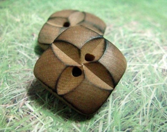 Wood Buttons - 10 pieces of Original Wood Burned Edge Deep Carving Flower Buttons, 0.63 inch