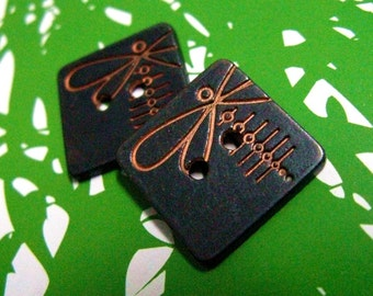 Metal Buttons - Copper Dragonfly Metal Buttons , Black Color , Square , 2 Holes , 0.59 inch , 10 pcs