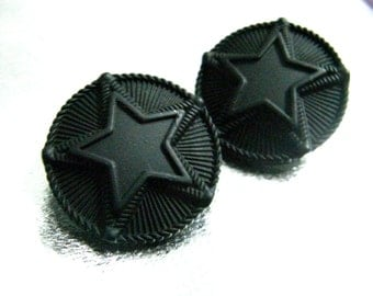 Metal Buttons - Double Stars Metal Buttons , Black Color , Shank ,  1 inch , 6 pcs