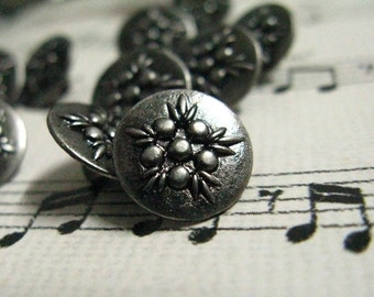 Metal Buttons - Flower Bouquet Metal Buttons , Nickel Silver Color , Shank , 0.47 inch , 10 pcs