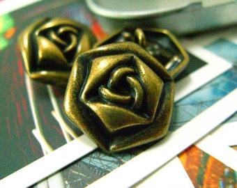 Metal Buttons - Rose Metal Buttons , Antique Brass Color , Shank , 0.91 inch , 10 pcs