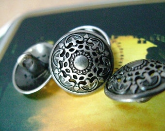 Metal Buttons - Medieval Filigree Metal Buttons , Nickel Silver Color , Domed , Openwork , Shank , 0.67 inch , 10 pcs
