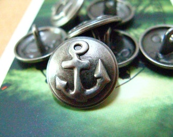 Metal Buttons - 10 Pieces Relief Anchor Gunmetal Thin Domed Buttons. 0.59 inch.
