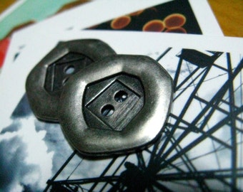 Metal Buttons - Heptagon Metal Buttons , Nickel Silver Color , 2 Holes , 0.79 inch , 10 pcs