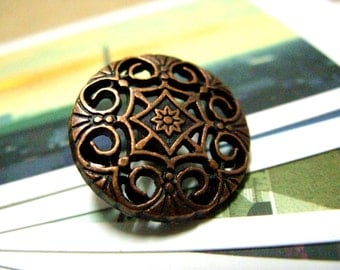 Metal Buttons - Swirl and Flower Metal Buttons , Copper Color , Shank , 0.79 inch , 10 pcs
