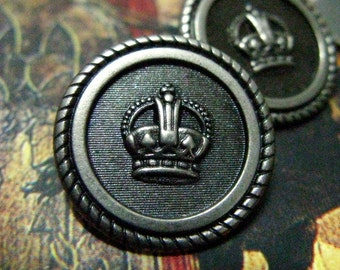Metal Buttons - Victorian Crown Metal Buttons , Nickel Silver Color , Shank , 0.59 inch , 10 pcs