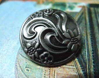 Metal Buttons - Ribbon Art Flower Metal Buttons , Nickel Silver Color , Shank , 0.71 inch , 10 pcs