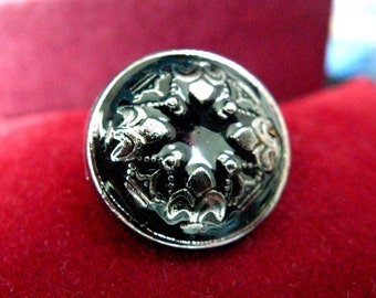 Metal Buttons - 10 Gorgeous Silver Royal Floral Pattern with Black Enamel Domed Shank Metal Buttons. 0.79 inch