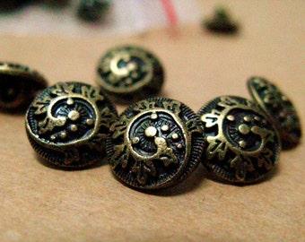 Metal Buttons - Fern Crozier Metal Buttons , Antique Brass Color , Shank , 0.43 inch , 10 pcs