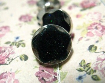 Lovely Plastic Buttons - Black Enamel Glitter Star Silver Plastic Buttons. 0.47 inch. 10 in a set