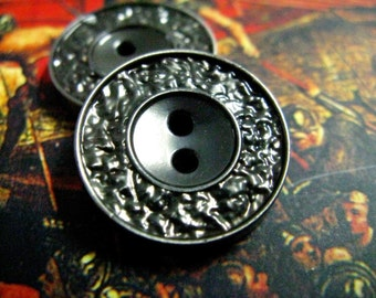Metal Buttons - Stone Texture Metal Buttons , Pearl Gunmetal Color , 2 Holes , 0.79 inch , 10 pcs