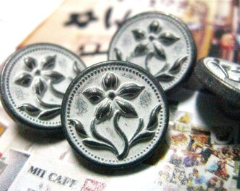 Metal Buttons - Gentianaceae Flower Metal Buttons , Gunmetal White Color , Shank , 0.47 inch , 10 pcs