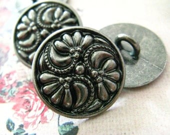 Metal Buttons - Flower Swirl Metal Buttons , Nickel Silver Color , Shank , 0.79 inch , 9 pcs