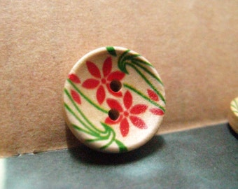 Wooden Buttons - 10 pieces of Colorful Fresh Tawny-Day-Lily Pattern Wooden Buttons. 0.59 inch