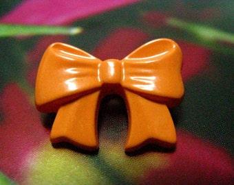 Set 10 Fancy Light Orange BowkNot Plastic Buttons. 0.79 inch