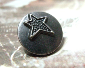 Metal Buttons - Rock Star Metal Buttons , Gunmetal Color , Shank , 0.79 inch , 10 pcs