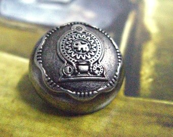 Metal Buttons - Symbol of Sri Lanka Coin Metal Buttons , Nickel Silver Color , Shank , 0.71 inch , 10 pcs