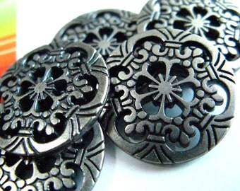 Metal Buttons - Roman Columns Metal Buttons , Nickel Silver Color , Openwork , Six Holes , 0.79 inch , 10 pcs