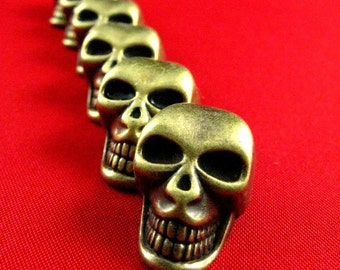 Metal Buttons - Large Skull Metal Buttons , Antique Brass Color , Shank , 1 inch , 6 pcs