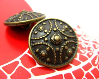 Metal Buttons - Carving Shield Metal Buttons , Antique Brass Color , Shank , 0.79 inch , 10 pcs