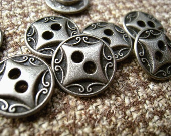 Metal Buttons - Diamond and Scrollwork Metal Buttons , Retro Silver Color , 2 Holes , 0.59 inch , 10 pcs