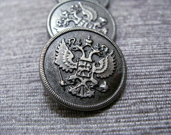 Metal Buttons - Two-headed Eagle Metal Buttons , Nickel Silver Color , Shank , 0.95 inch , 10 pcs